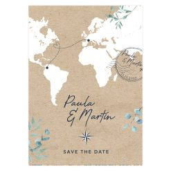 Carte mariage Voyage international, carte du monde. cachet postal