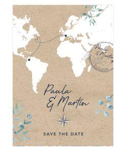 Carte mariage Voyage international, carte du monde. cachet postal
