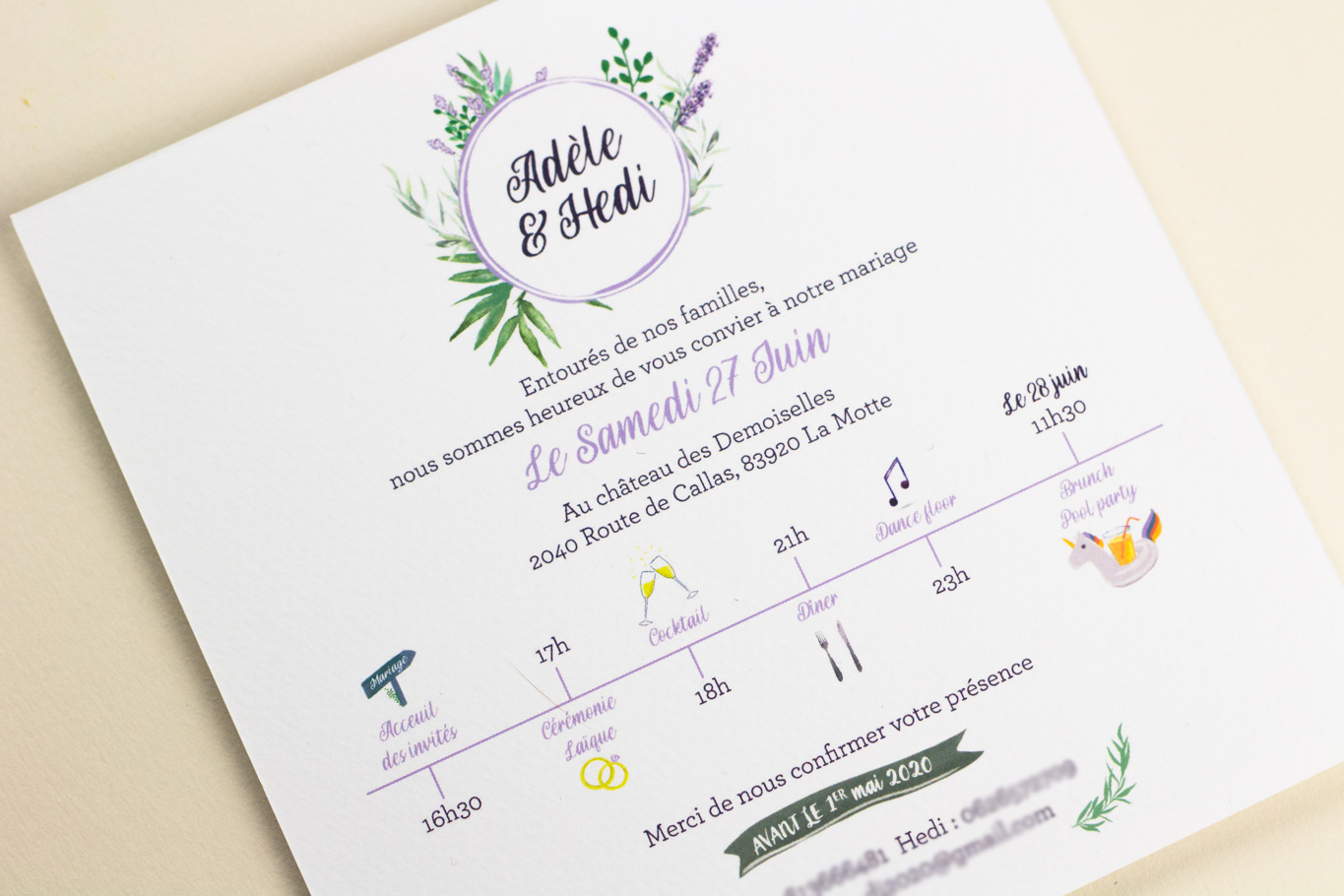 faire part mariage programme illustré Pepper & Joy