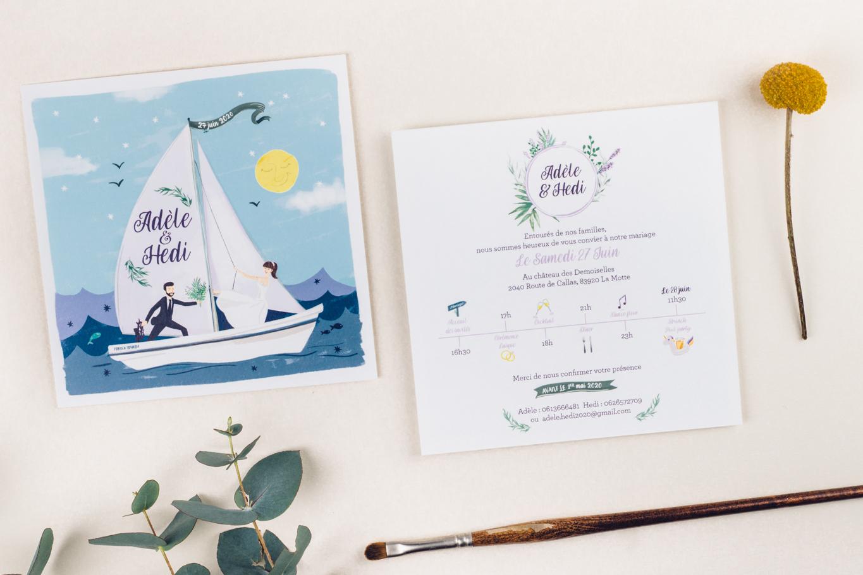 faire-part mariage thème de la mer dessin voilier et mariés, lavande et vagues