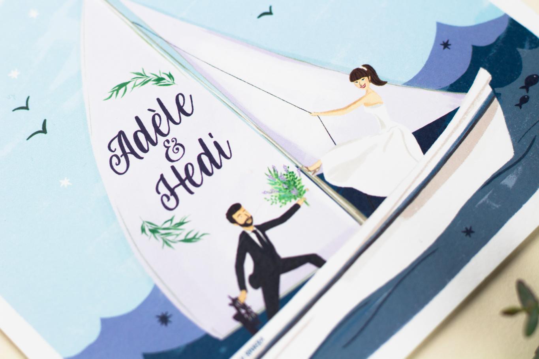 dessin fairepart mariage thème de la mer. Bateau voilier vagues lavande et poisson. Création sur mesure