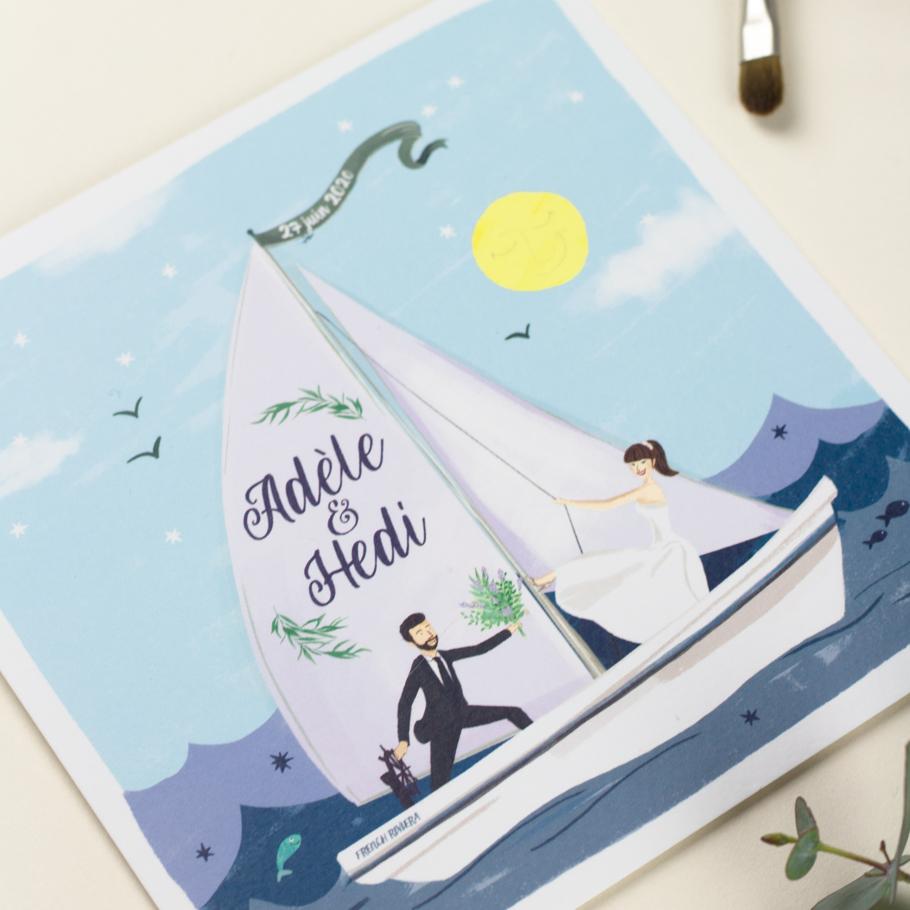 Invitation mariage thème de la mer portrait des mariés illustrés, bateau à voile sur les vagues