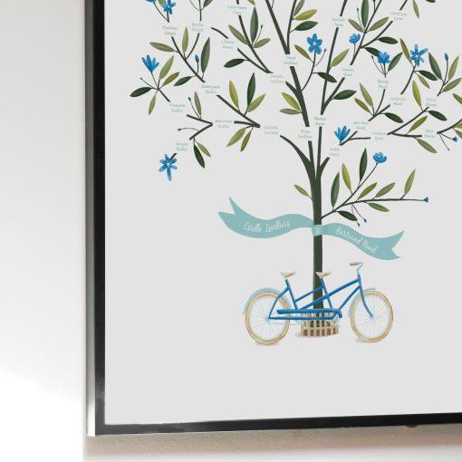 Arbre généalogiqueavec dessin d'un arbre et vélo tandem. Poster imprimé