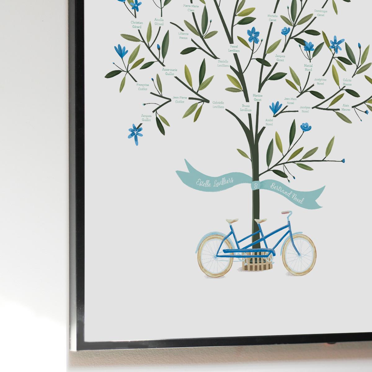Arbre généalogique personnalisé avec dessin d'un arbre et vélo tandem. Poster imprimé