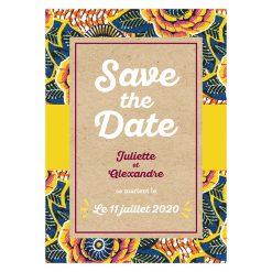 save the date mariage wax, mariage ethnique chic