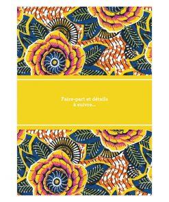 Carte save the date mariage africain, motif wax