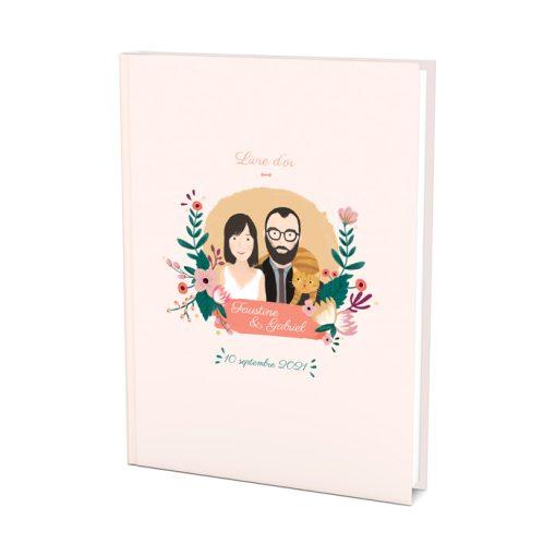 Livre do'r mariage avec dessin des mariés entourés de fleurs