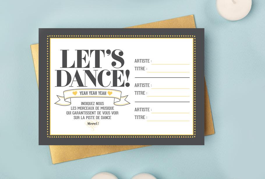 Mariage DIY gratuit, cartes morceaux musique invités
