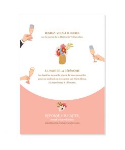 Invitation mariage portrait des mariés à table. Fond rose poudré