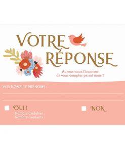 RSVP mariage, carton votre réponse sous forme de carte postale imprimée.