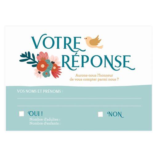 Carte RSVP mariage imprimée. Carton personnalisé avec votre texte.