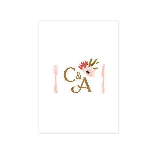Carton invitation dîner brunch mariage. Logo des mariés avec dessin des couverts