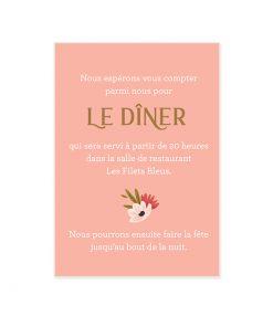 Invitation repas mariage petit carton personnalisé