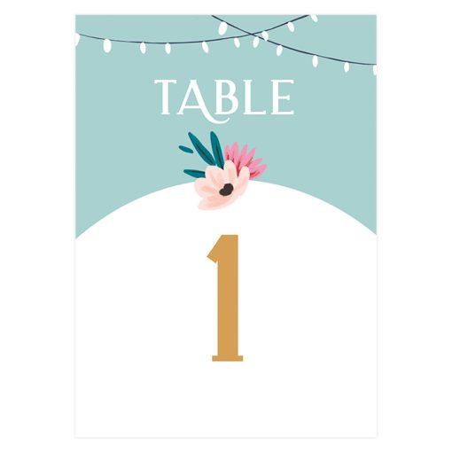 Carte numéro de table mariage. Décoration table