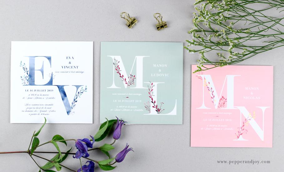 faire part mariage poétique monogramme aquarelle, initiales des mariés