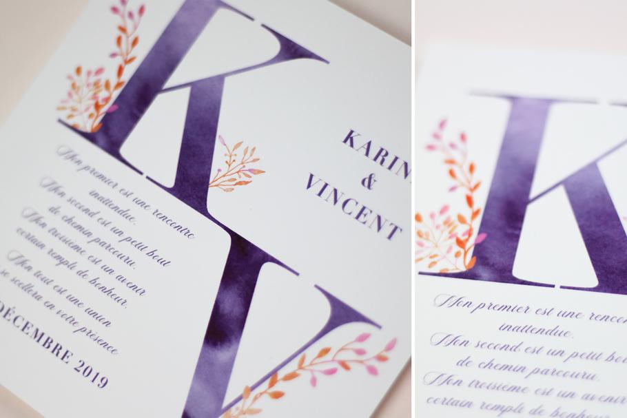 faire-part mariage poétique, aquarelle nature, texte charade