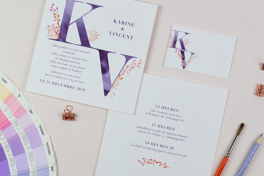 faire part mariage poétique nature intemporel. Violet et orange.