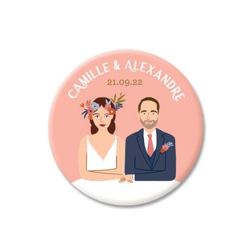 magnet mariage, goodies mariage avec portrait des mariés.