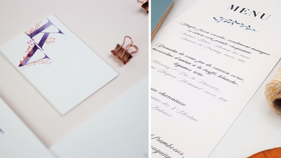 Menu mariage et marque place assortis. Invitation mariage poétique et intemporelle.