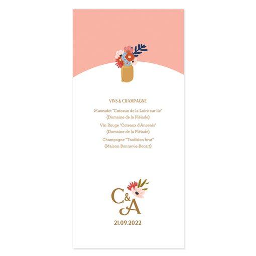 Menu imprimé de mariage. Texte personnalisé avec le logo de votre mariage. Dessin de fleurs.