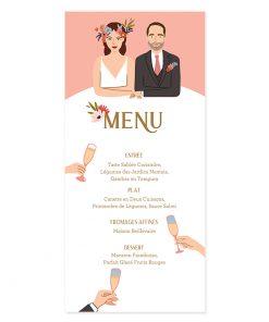 Menu mariage avec portrait des mariés. Carte imprimée recto verso.