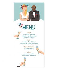 Carte menu mariage avec dessin des mariés sur mesure. Toast repas de mariage
