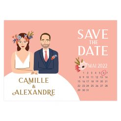 carte save the date portrait, calendrier