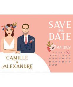 carte save the date portrait, calendrier