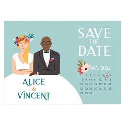 save the date portrait, carte originale avec le dessin des mariés à table.