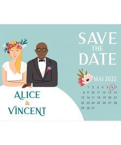 save the date portrait, carte originale avec le dessin des mariés à table.