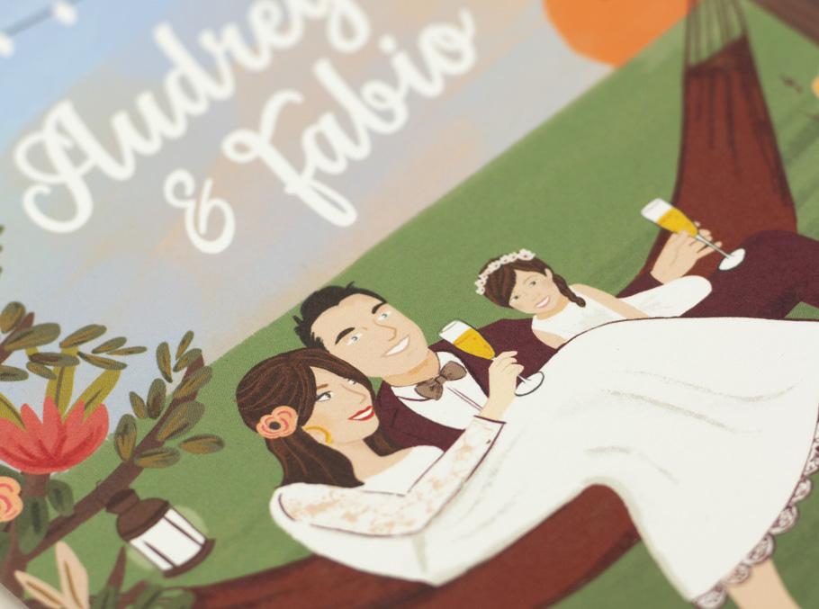 invitation mariage portrait du couple hamac décor champêtre