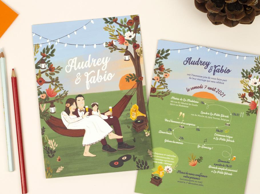 faire-part mariage portrait champêtre, couleurs automne.