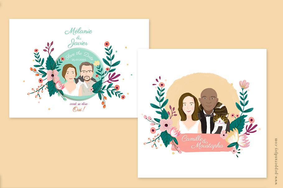 faire part mariage portrait, invitation mariage avec dessin des mariés