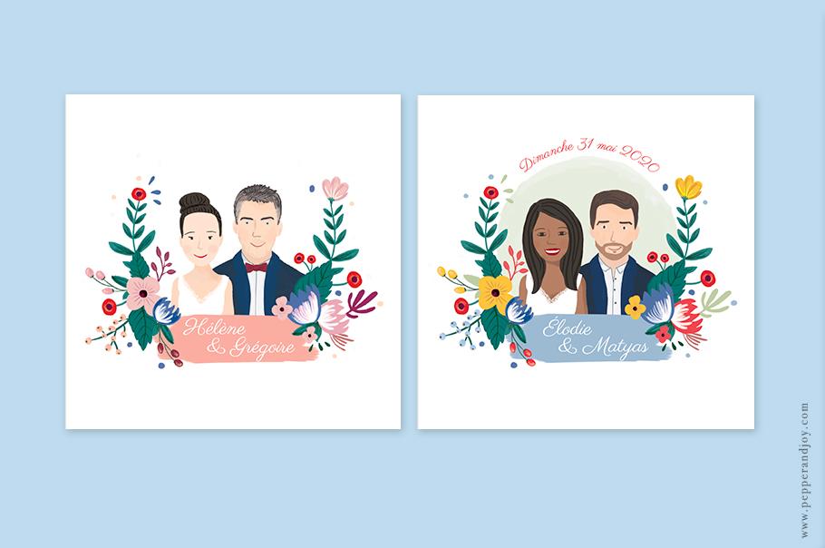 Invitation mariage portrait des mariés, dessin d'après photos