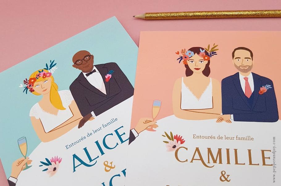 Invitation mariage portrait des mariés, dessin sur mesure