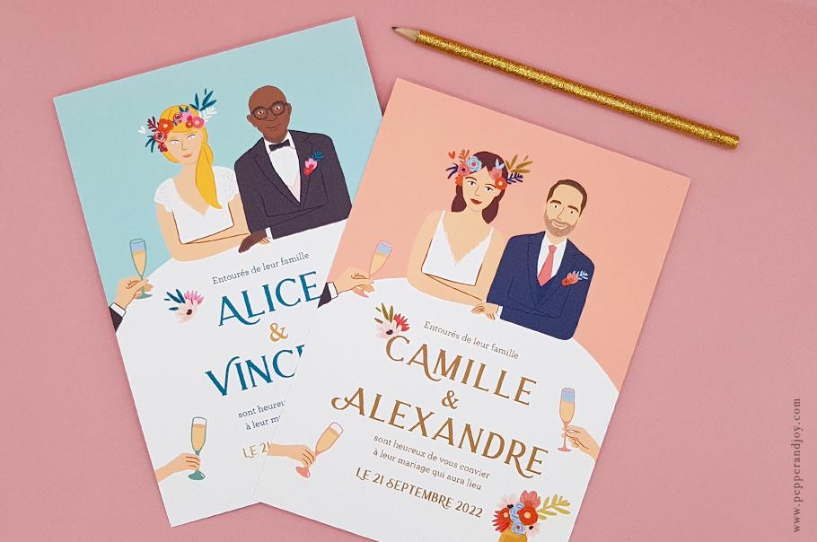 faire part mariage avec illustration des mariés, le portrait des mariés