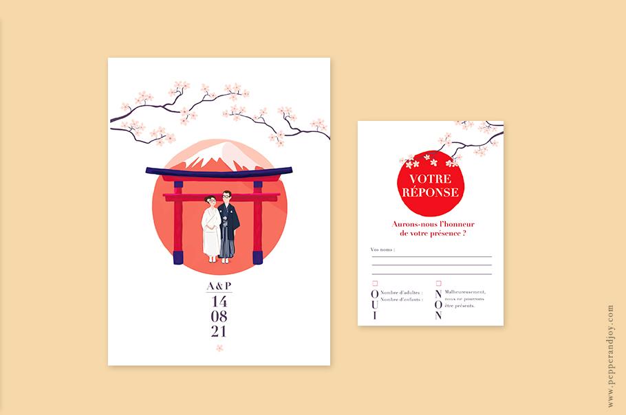 faire part mariage japon, portrait des mariés en kimono