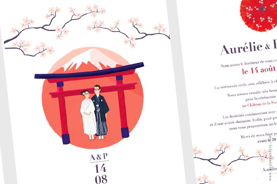 faire part mariage portrait, mariés en kimono devant le Mont Fuji