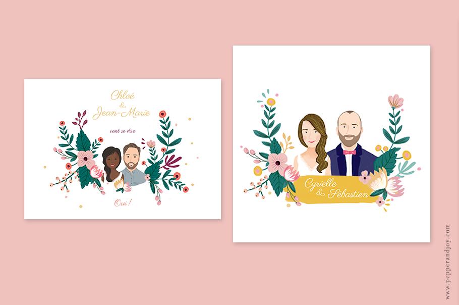 Faire-part mariage portrait, dessin des mariés