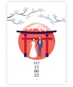 faire part mariage Japon, invitation personnalisé, mariés devant torii et fleurs de cerisier