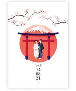 faire part mariage Japon, portrait des mariés en kimono, Mont Fuji, Torii et fleurs de cerisier.