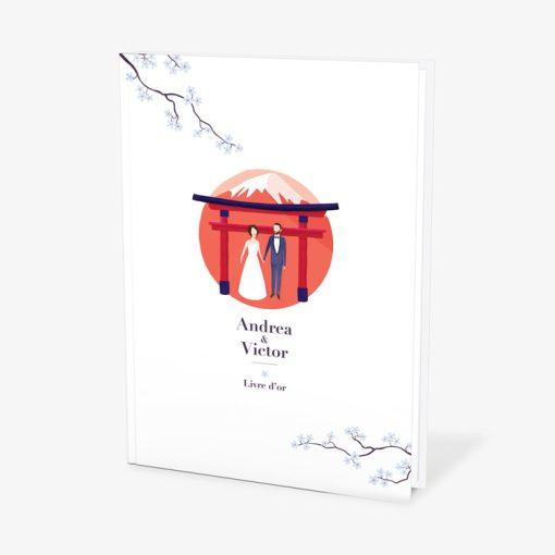 Livre d'or mariage Japon, souvenir cadeau de mariage au pays du soleil levant.