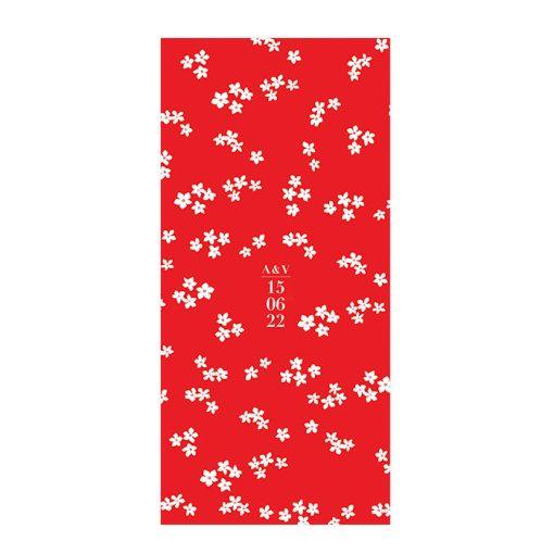 Menu mariage Japon, fleurs de cerisier blanches. Carton imprimé sur fond rouge.