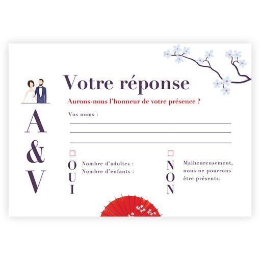 Mariage Japon, carte RSVP, carton réponse sous forme de carte postale.