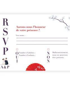 Carton réponse rsvp mariage Japon, carte postale illustrée