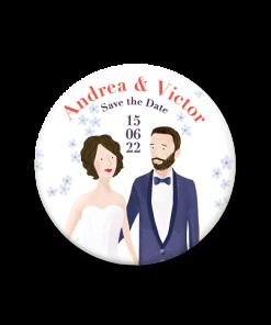 magnet mariage Japon, save the date avec portrait des mariés