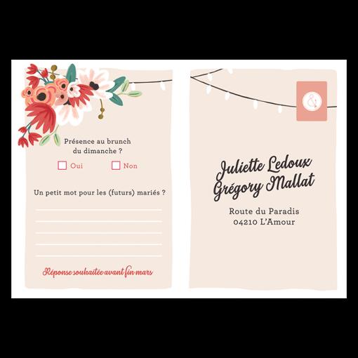 RSVP mariage imprimé, carte réponse mariage bohème, motif tandem et fleurs