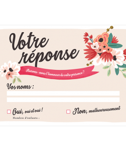 Carton réponse mariage bohème, rsvp avec décor floral. Carte imprimée personnalisée.
