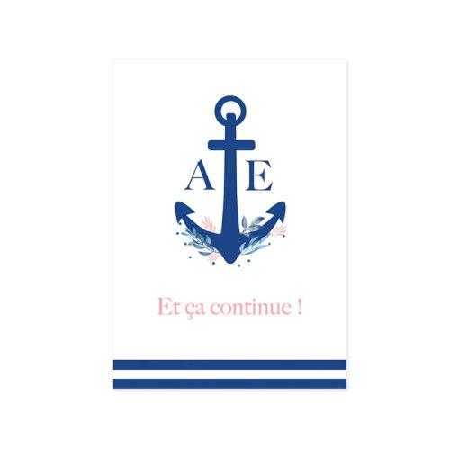 Petit carton invitation repas de mariage Mer