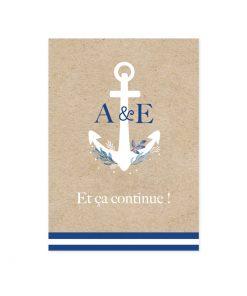 Petit carton brunch mariage mer, modèle Bleu marine